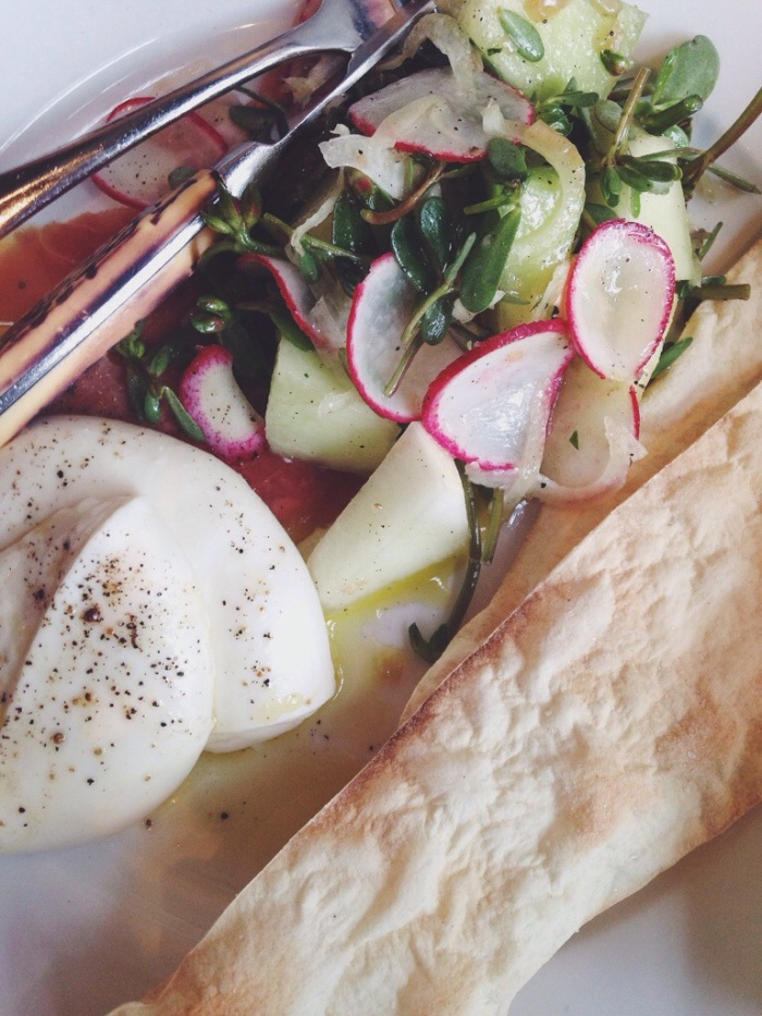 My favorite dish, house-made mozzarella served with honeydew melon salad, prosciutto di parma & cracker bread