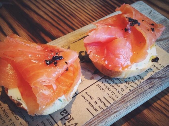 My favorite bite, salmon sandwich.