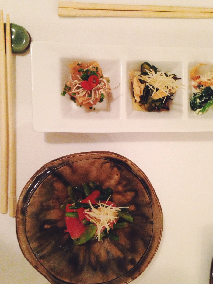 We each had a different tasting menu, his three tastes included some soy infused daikon, tofu with greens and cucumber with scallop. Mine was ahi with greens and ginger.