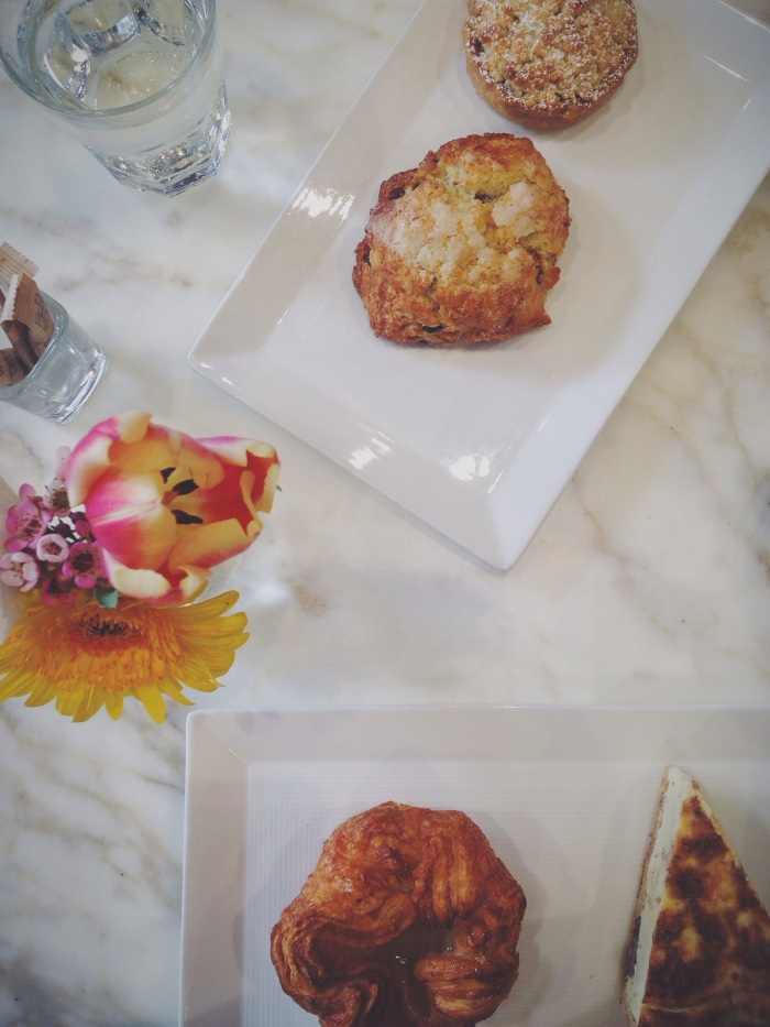 The haul...a chocolate banana scone, 10 hour apple tart, mushroom and goat cheese quiche and the kouign amann