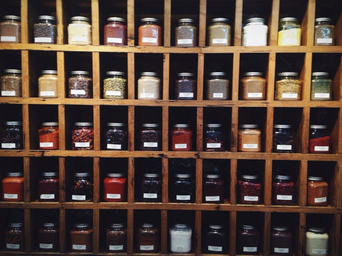 Only a small section of the spices available to choose from