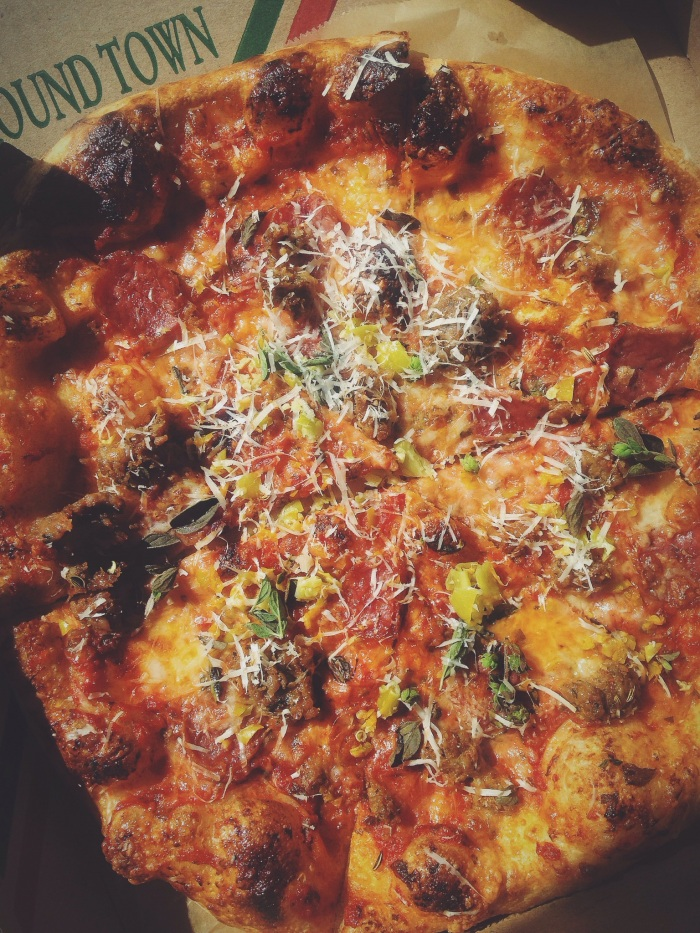 Ate a salad from the garden with our drinks and took the wood fired pizza to go, fennel sausage with herbs