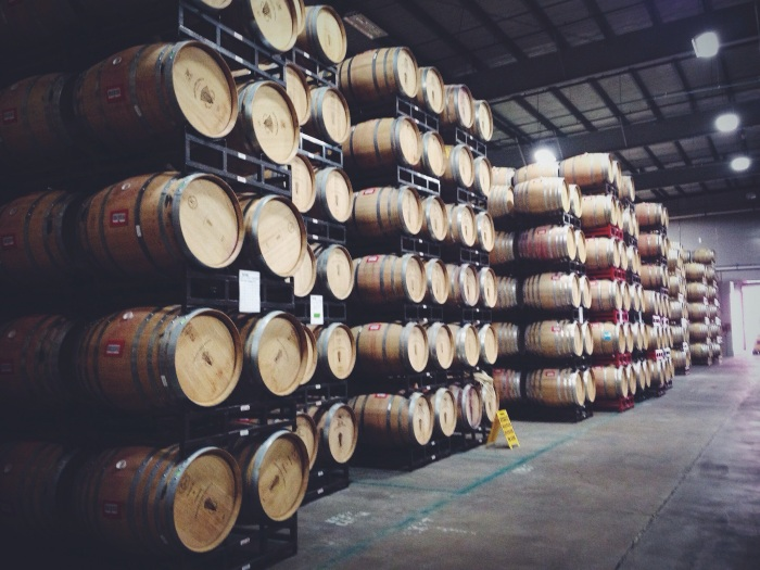 The barrel room and just a glimpse of the many barrels working their magic