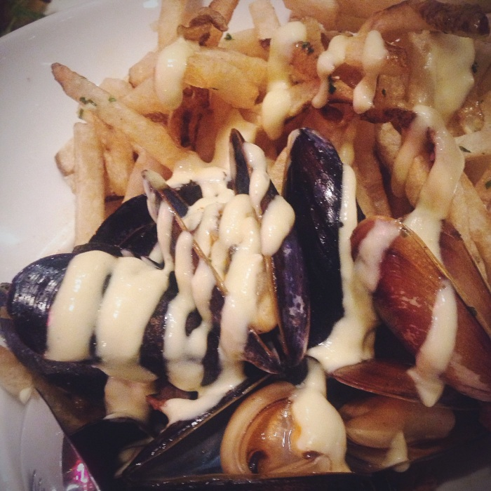 Mussels, cherry tomato, merguez sausage, garlic frites...always hard to beat
