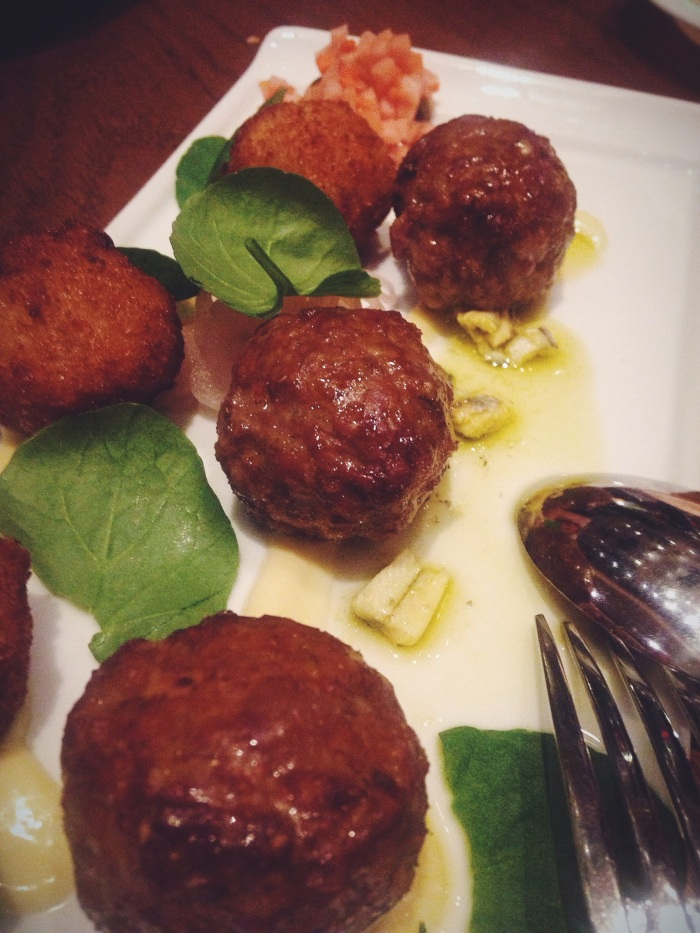 Lamb Meatballs & Halibut Croquettes with aioli, pickled red onion and white anchovie