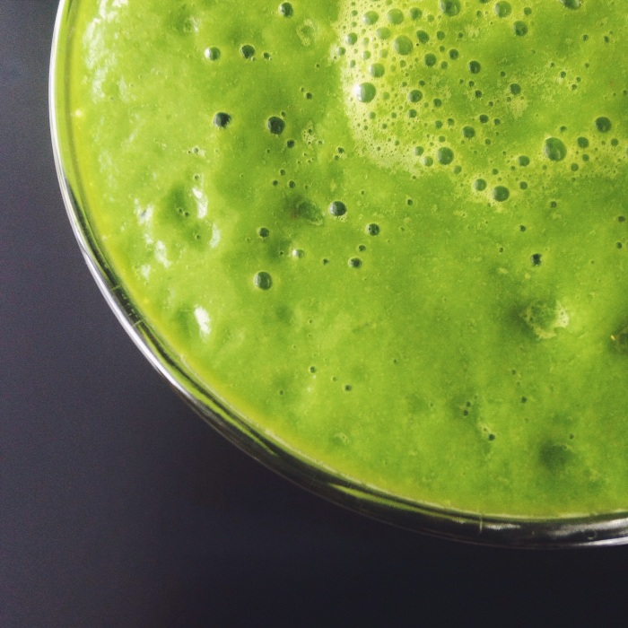 The greenest (and maybe tastiest) smoothie I have ever made...spinach, avocado, banana and grapefruit