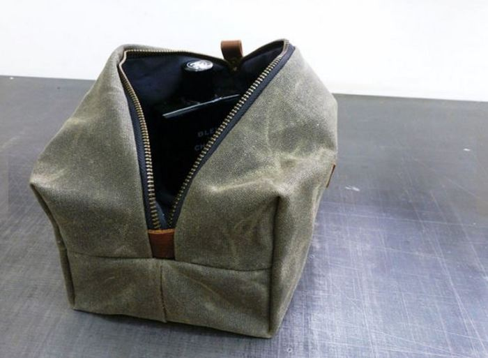 Help your favorite guy travel in style with a handmade dopp kit made out of  waxed canvas. Dopp Kit