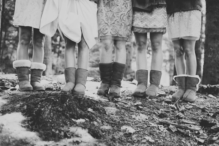 We all wore formal shoes during the ceremony but while out in the snow for pictures cozy boots were key.
