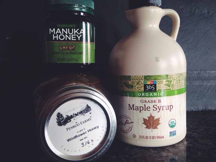 Manuka honey (look it up to learn about it but this is from Trader Joe's), wildflower honey, maple syrup