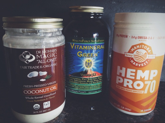 Coconut Oil, Vitamineral Green, and Hemp Pro Protein Powder