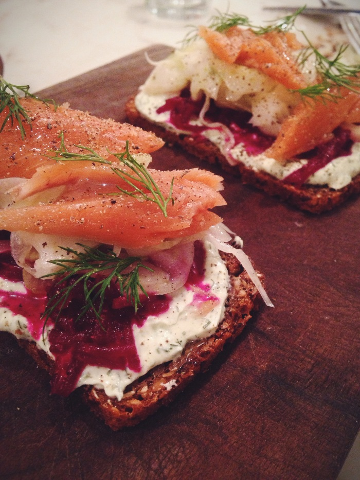 Trout on sprouted rye with fennel, pickled beets and fresh dill.