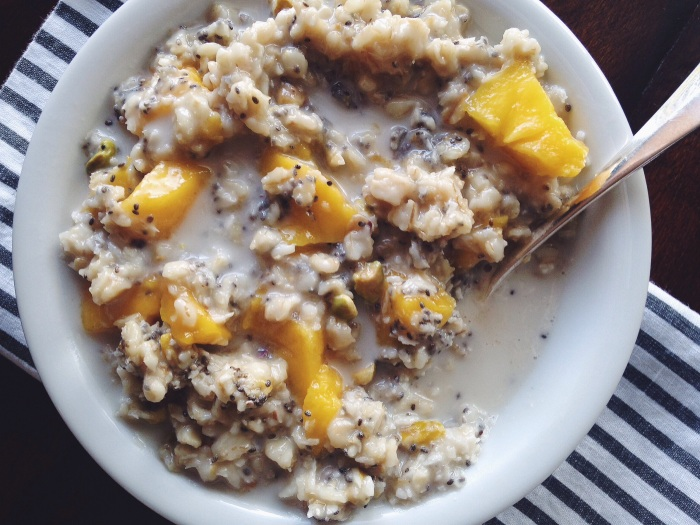 I think I have another favorite oatmeal mix...oats, coconut oil, chia seeds, fresh mango, toasted coconut, almond milk, drizzle of maple syrup. So yum!