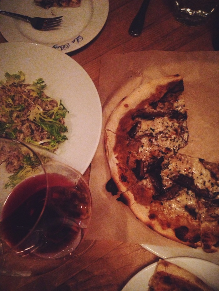 Wood fired mushroom pizza and truffle risotto
