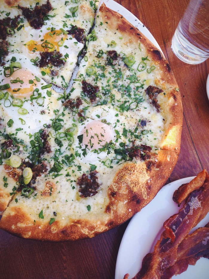 This breakfast pizza was the best thing we ate the entire weekend