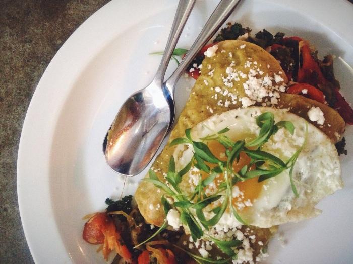 Veggie Enchiladas with a fried egg