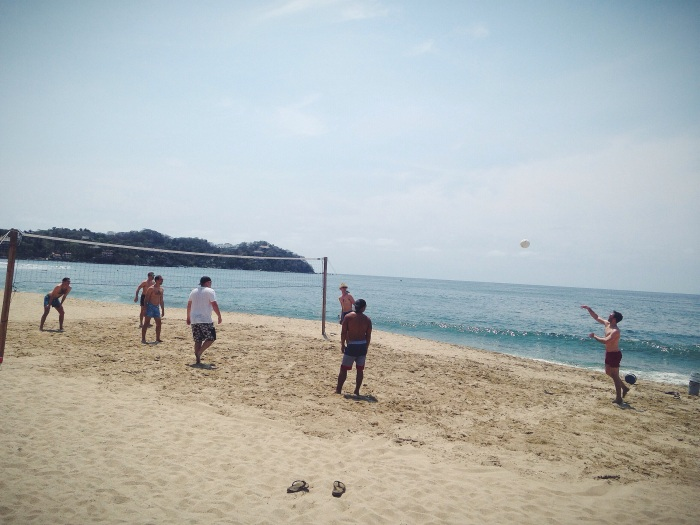The boys were in heaven with this little volleyball situation