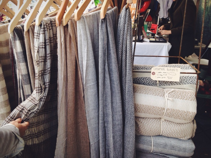 The softest cashmere blankets from a local artisan at the Hayes Valley Street Fair