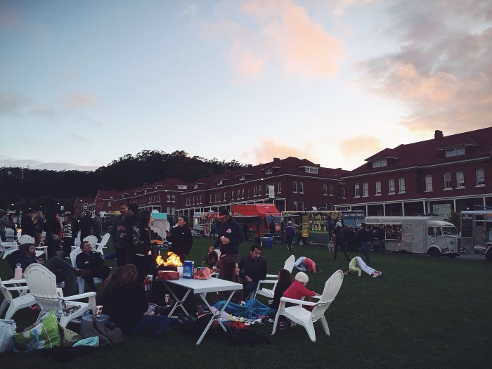 Far fewer people than the Sunday Presidio event, made it really easy to get food whenever you wanted something