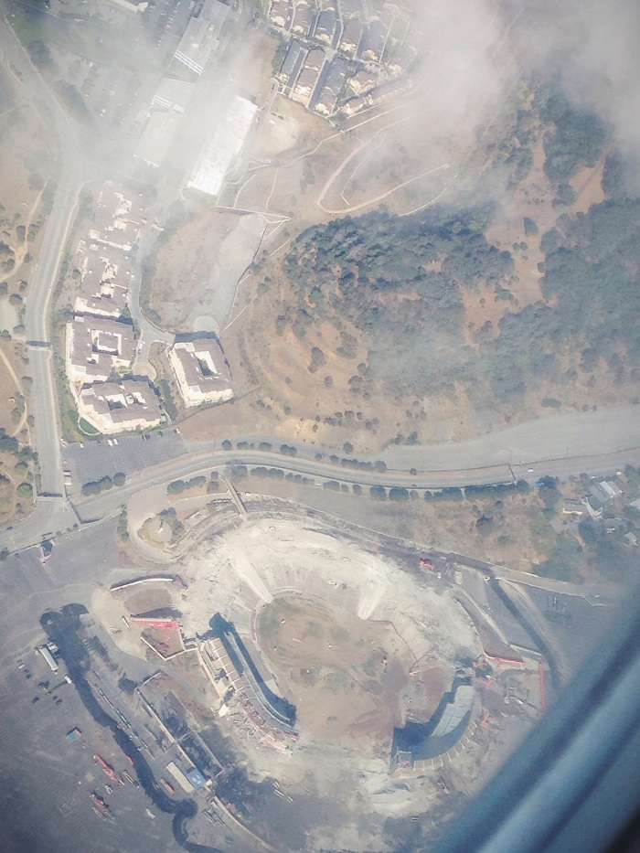 Aerial view of the last bits of Candlestick Park coming down