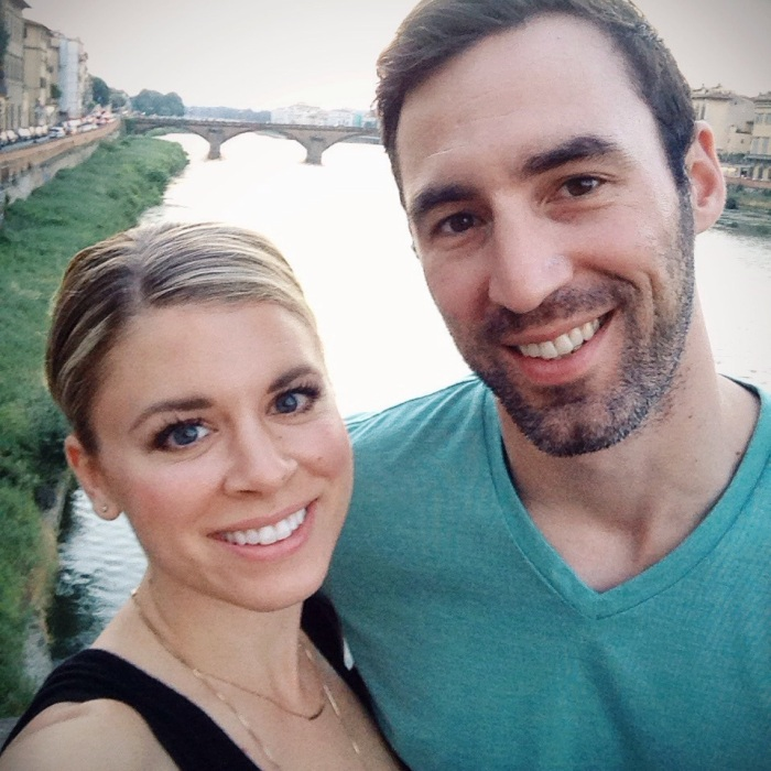 Walking to dinner with my love along the river in Florence