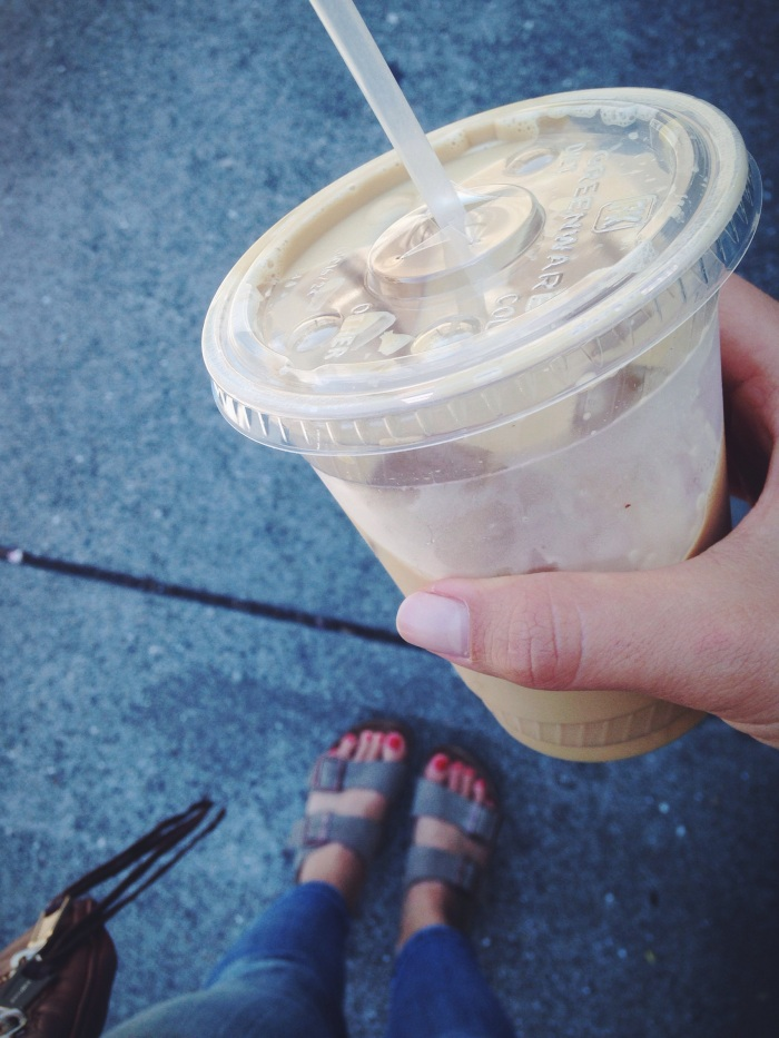 A very San Francisco moment with birks, fringe and a macadamia/almond iced latte. A must try from St. Frank.