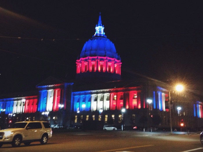 San Francisco city hall showing support for Paris