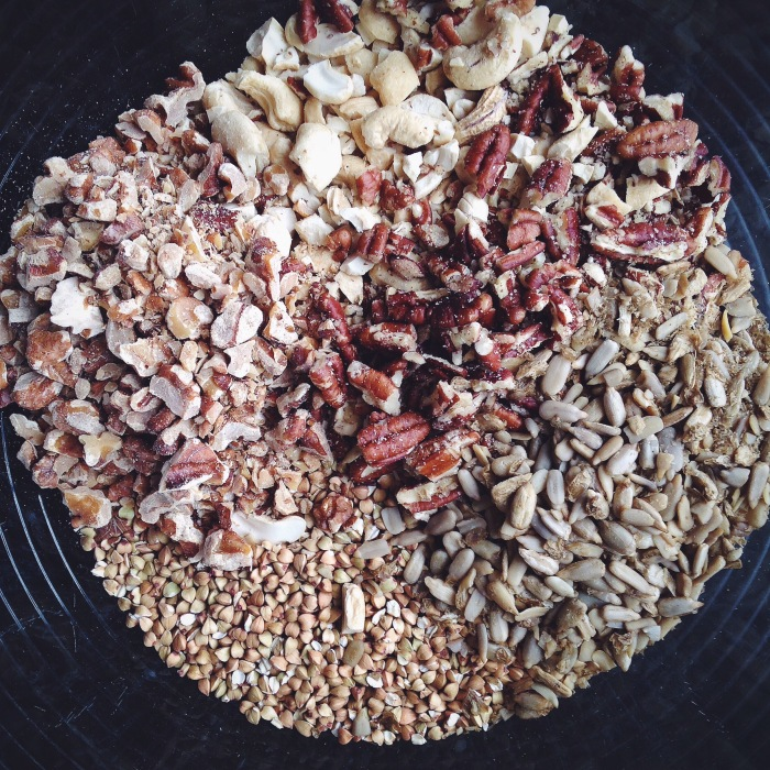 I threw in an extra half cup of sunflower seeds to the mix of walnuts, pecans and cashews I had going to clean out my pantry